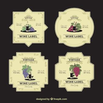 Coleção do vintage de etiquetas decorativas do vinho
