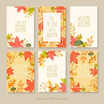 Coleção dos cartões de outono
