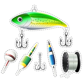 Coleção dos elementos de pesca
