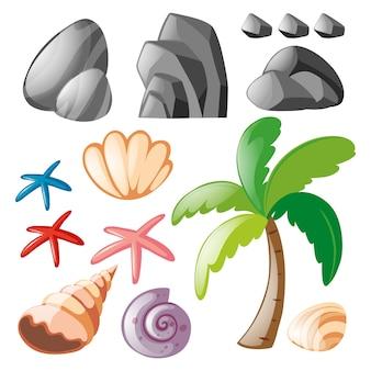 Coleção dos elementos de praia