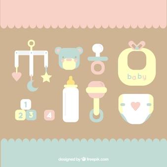 Coleção dos elementos do bebê plana