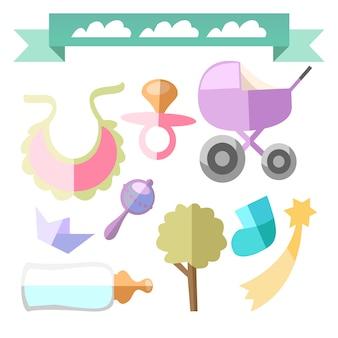 Coleção dos elementos do bebê