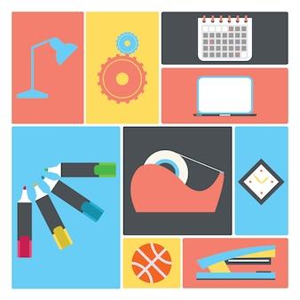 Coleção dos elementos do escritório