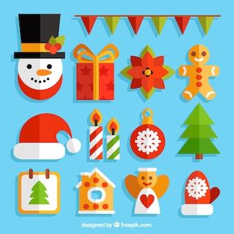 Coleção dos elementos do Natal no design plano