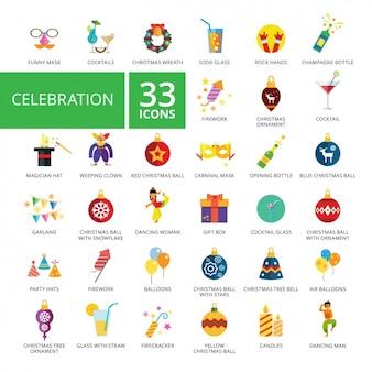 Coleção dos ícones da celebração