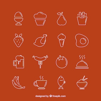 Coleção dos ícones de alimentos