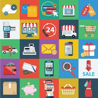 Coleção dos ícones de compras online