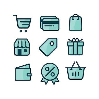 Coleção dos ícones de compras
