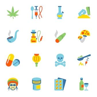 Coleção dos ícones de drogas
