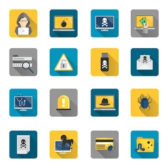 Coleção dos ícones de hackers