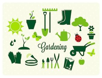 Coleção dos ícones de jardinagem