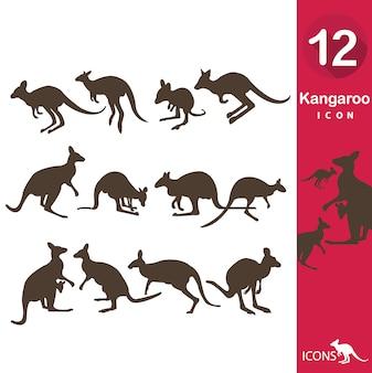 Coleção dos ícones do canguru