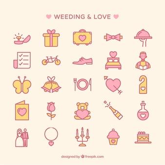 Coleção dos ícones do casamento