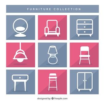 Coleção dos ícones do funiture