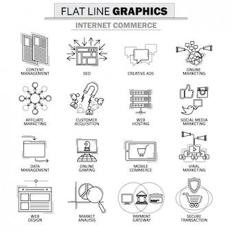 Coleção dos ícones do Internet