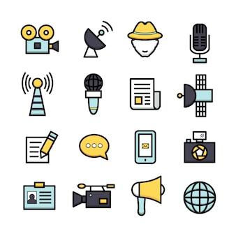 Coleção dos ícones do jornalismo