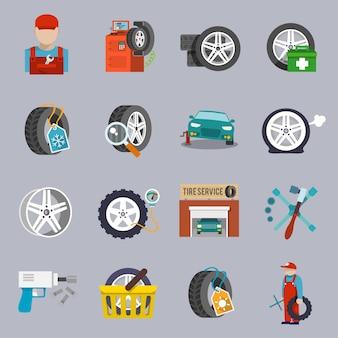 Coleção dos ícones do reparo do carro