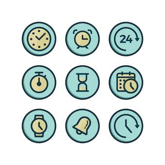 Coleção dos ícones do tempo