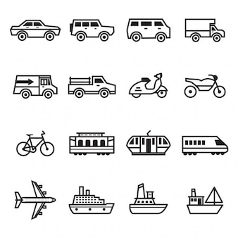 Coleção dos ícones do transporte