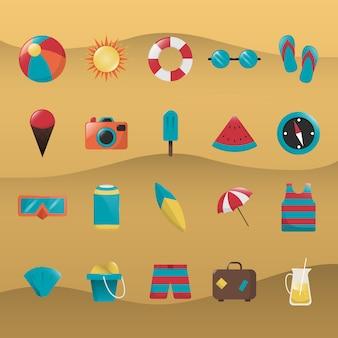 Coleção dos ícones do verão