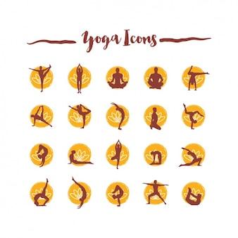 Coleção dos ícones do Yoga