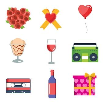 Coleção dos ícones dos Namorados