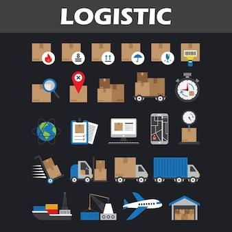 Coleção dos ícones logísticos