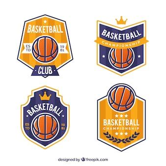 Coleção dourada e azul do logotipo do basquetebol