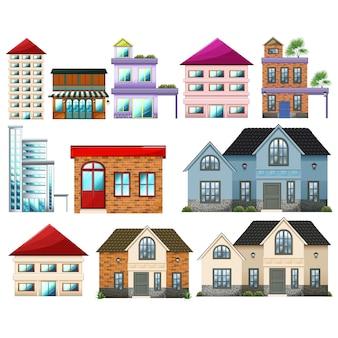 Coleção edifícios Colorido