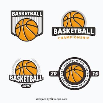 Coleção emblemas de basquete