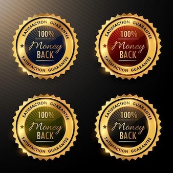 Coleção emblemas dinheiro de volta garantia definido