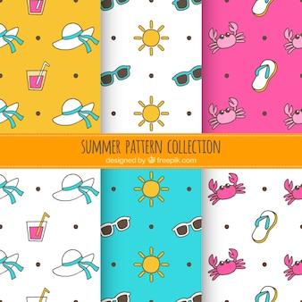 Coleção engraçada do teste padrão do verão