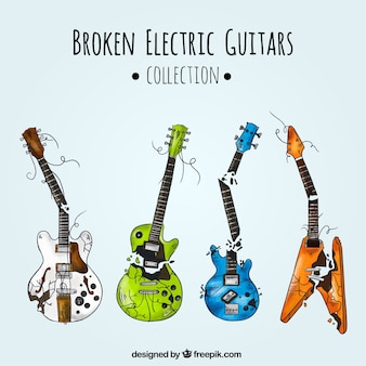 Coleção fantástica de quatro guitarras elétricas quebradas