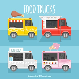 Coleção feliz de caminhões de alimentos coloridos