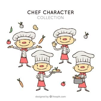 Coleção feliz do caráter do cozinheiro chefe