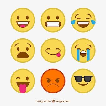 Coleção fixa de emoticons decorativos