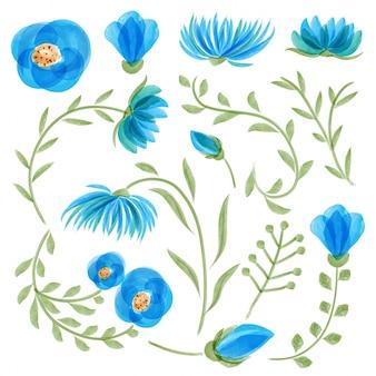 Coleção floral azul da aguarela com folhas e flores