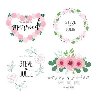 Coleção floral da etiqueta da noiva da grinalda