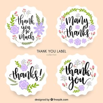 Coleção floral de etiquetas de agradecimento