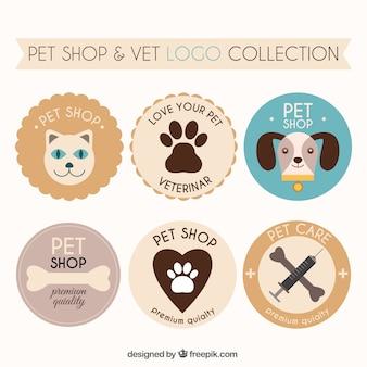 Coleção geométrica dos logotipos para cuidados com os animais