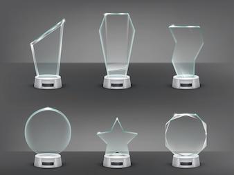 Coleção ilustração vetorial de troféus de vidro modernos, prêmios