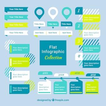 Coleção infográfico plano com detalhes verdes
