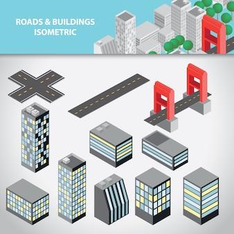 Coleção isométrica de estradas e edifícios
