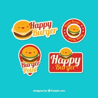 Coleção lisa dos logotipos com caráteres do hamburguer