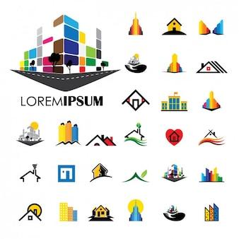 coleção logos de construção