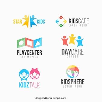 Coleção logotipo colorido criança