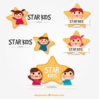 Coleção logotipo da estrela kid