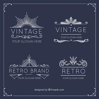 coleção logotipo elegante do Vintage