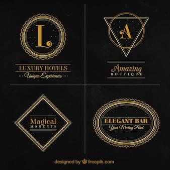 Coleção luxuosa de logotipos do vintage