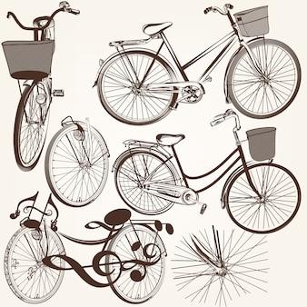 Coleção mão tirada bicicletas do vintage